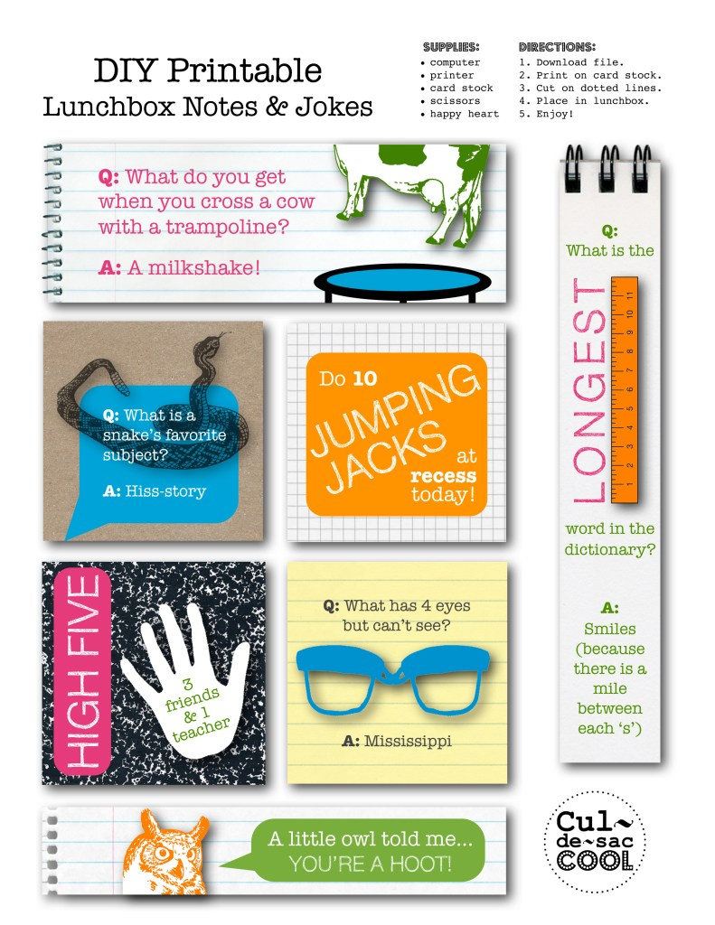 diy printable lunchbox notes & jokes