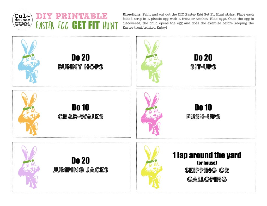 DIY Printable Easter Egg Get Fit Hunt - Page 1