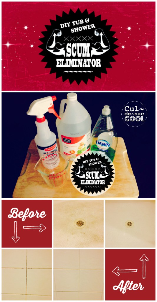 DIY Tub & Shower Scum Eliminator Collage 1