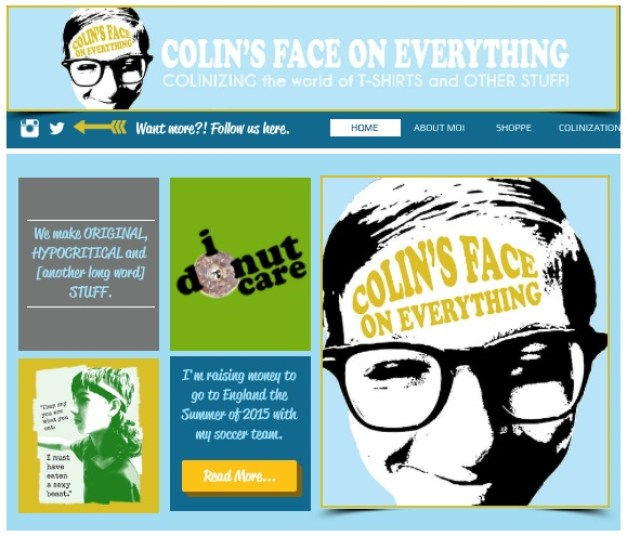 Colin's Face On Everything Website 1