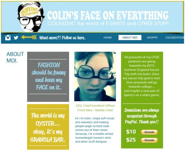 Colin's Face On Everything Website 3