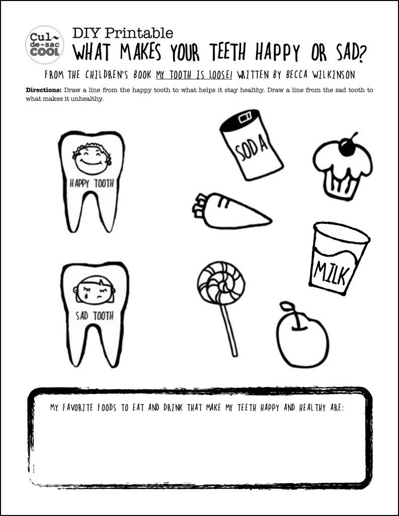 DIY Printable What Makes Your Teeth Happy or Sad Teeth from The Children's Book My Tooth is Loose by Becca Wilkinson