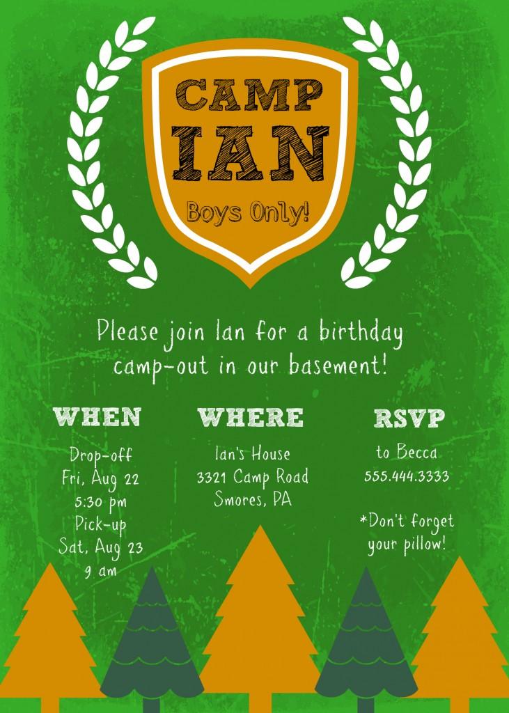 DIY camp birthday invite example
