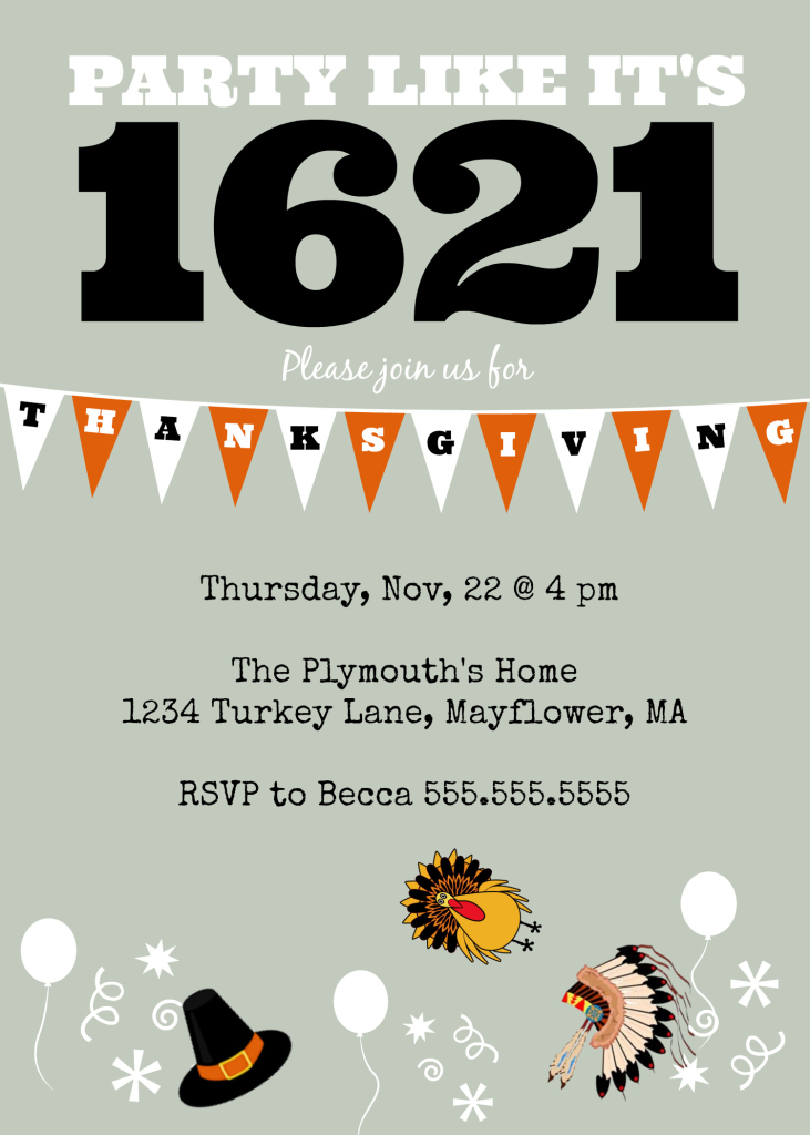 DIY Printable Thanksgiving 1621 Invite Example