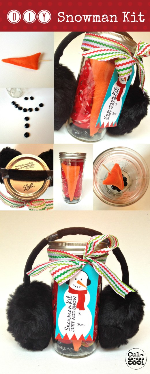 DIY Snowman Kit with free Printable tags Collage