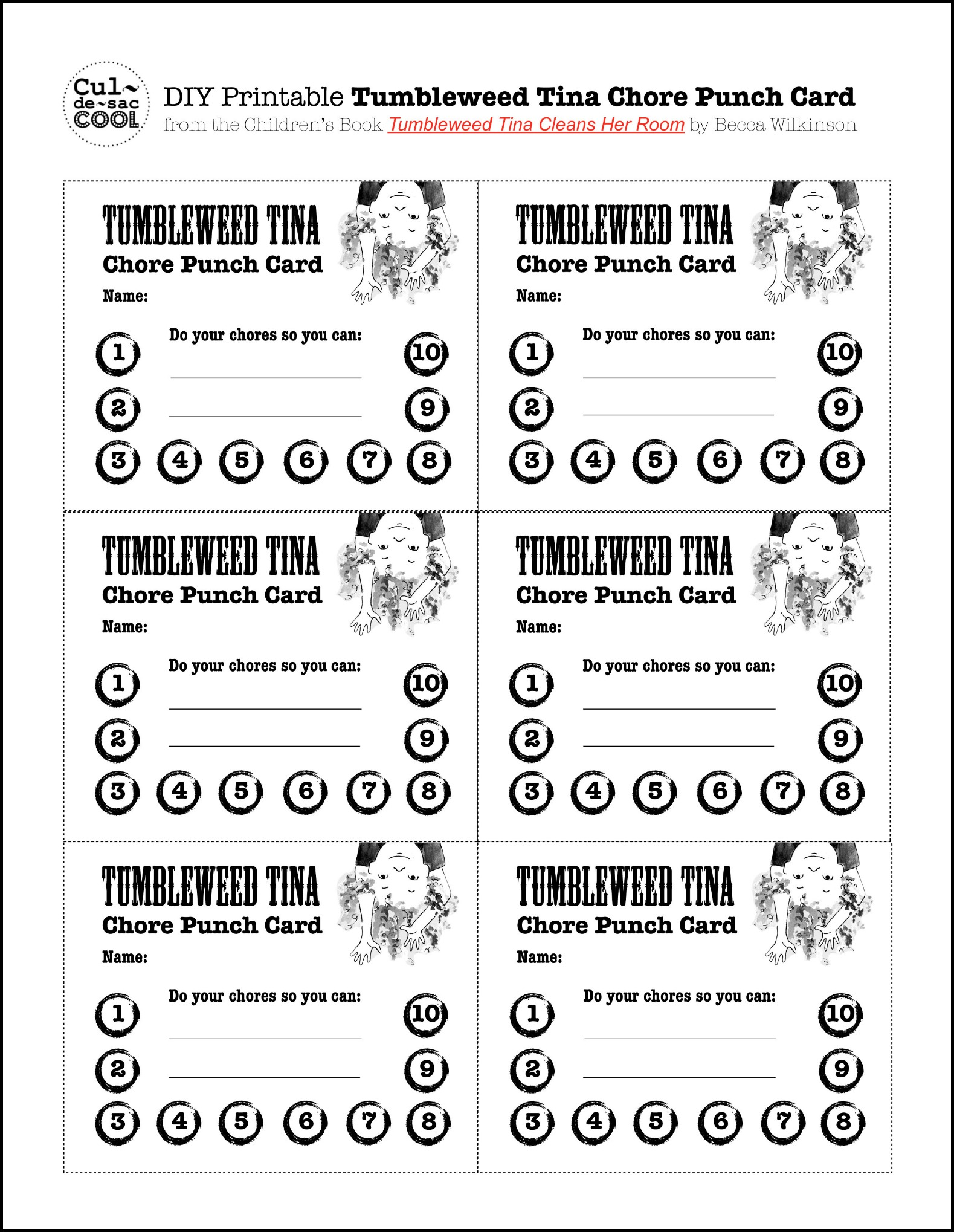 DIY Printable Tumbleweed Tina Chore Punch Card from the Children's Book Tumbleweed Tina Cleans Her Room by Children's Book Aurthor Becca Wilkinson