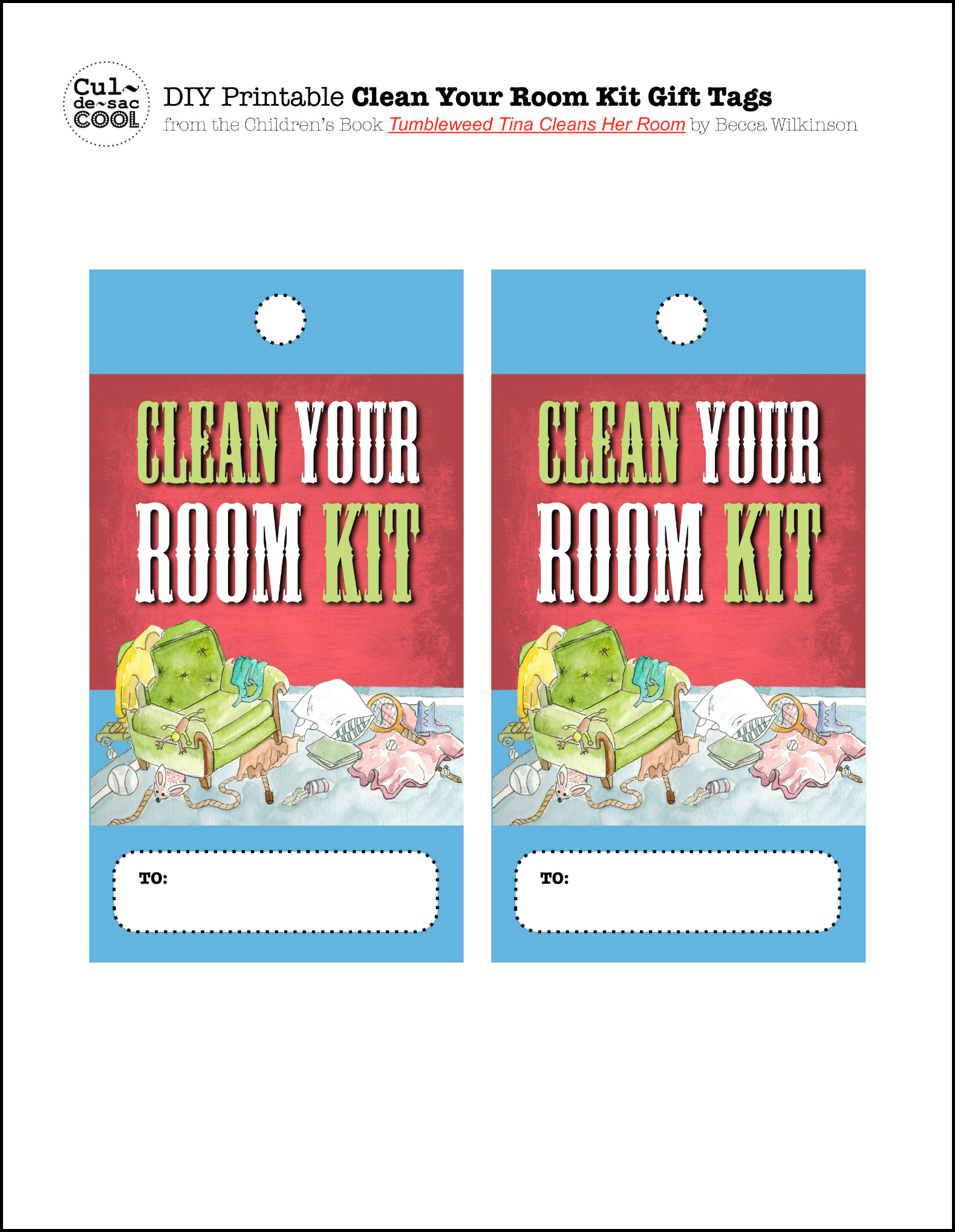 DIY Printable Clean Your Room Kit Tags from the children's Book Tumbleweed Tina Cleans Her Room by Becca Wilkinson
