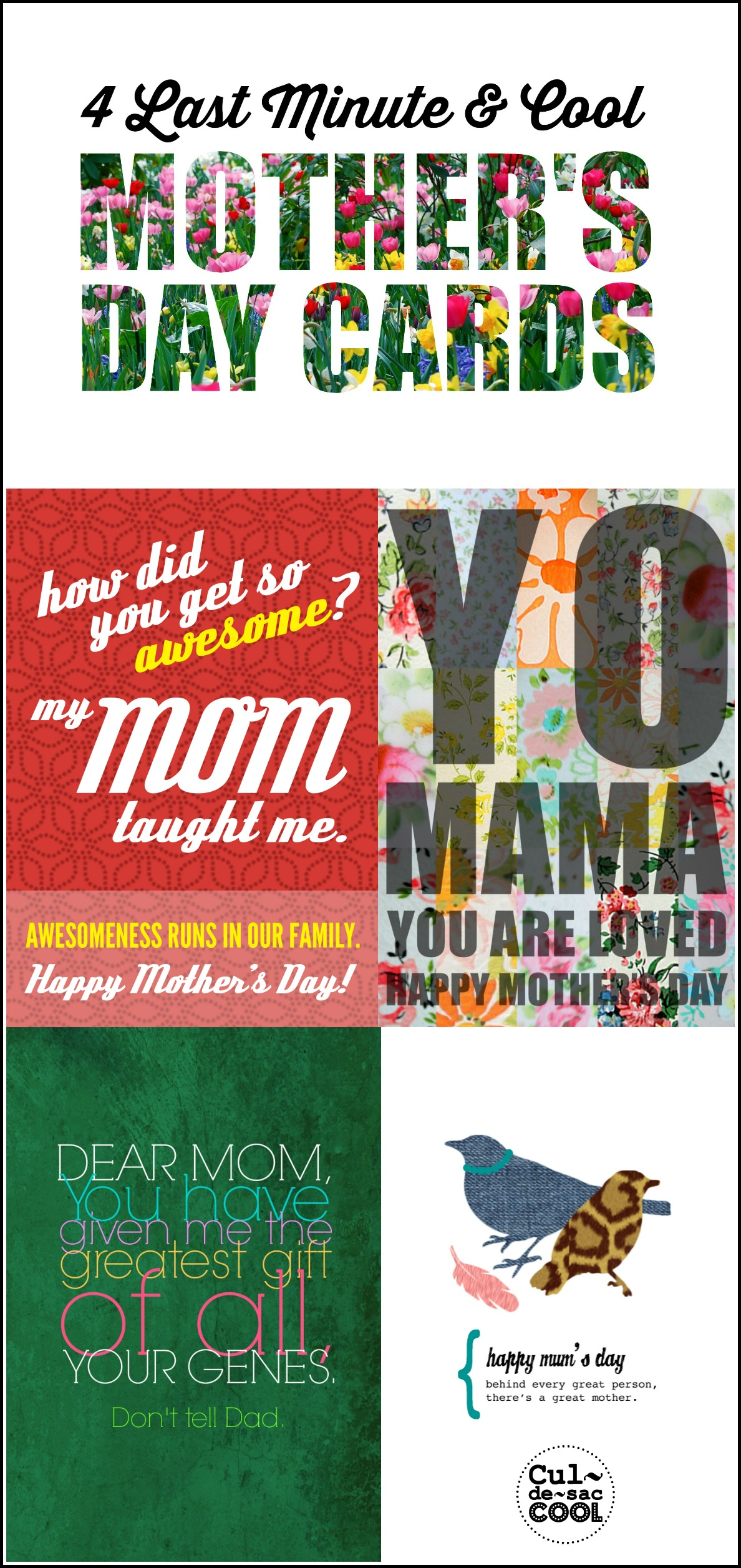 4 Last Minute & Cool Mother's Day Cards Collage