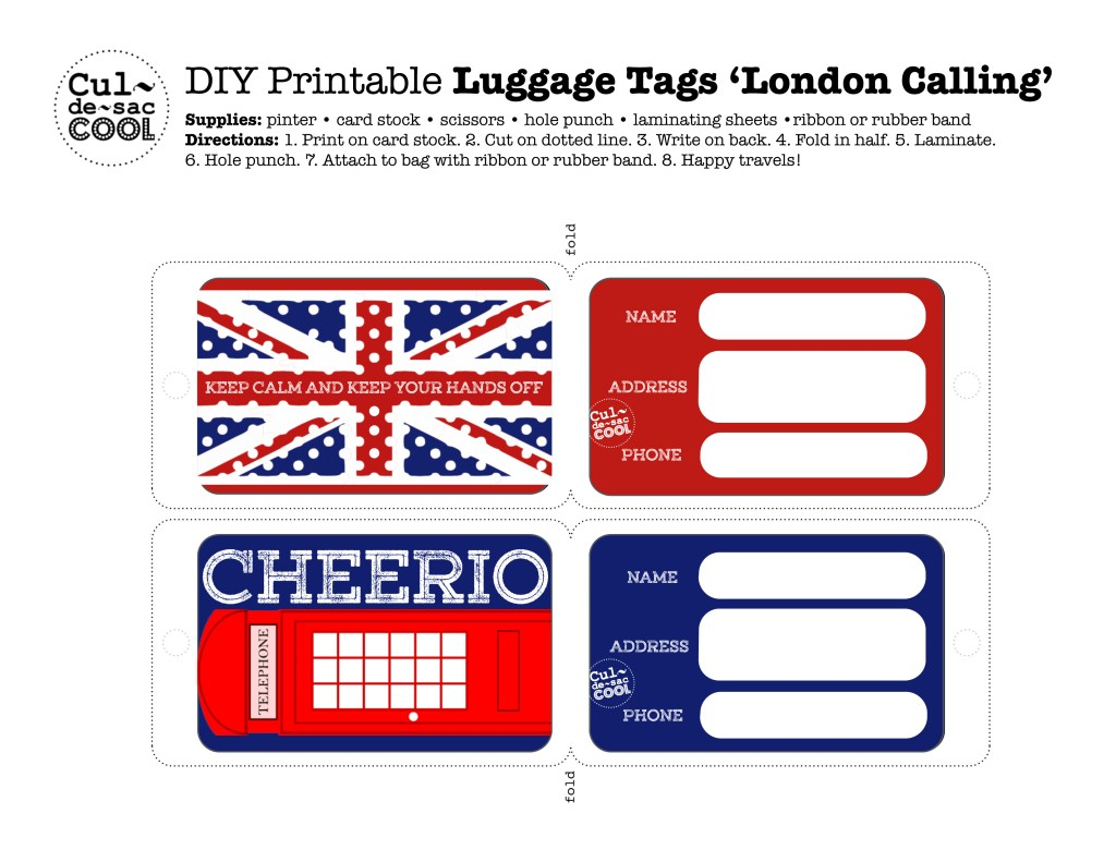 DIY Printable Luggage Tags 'London Calling'
