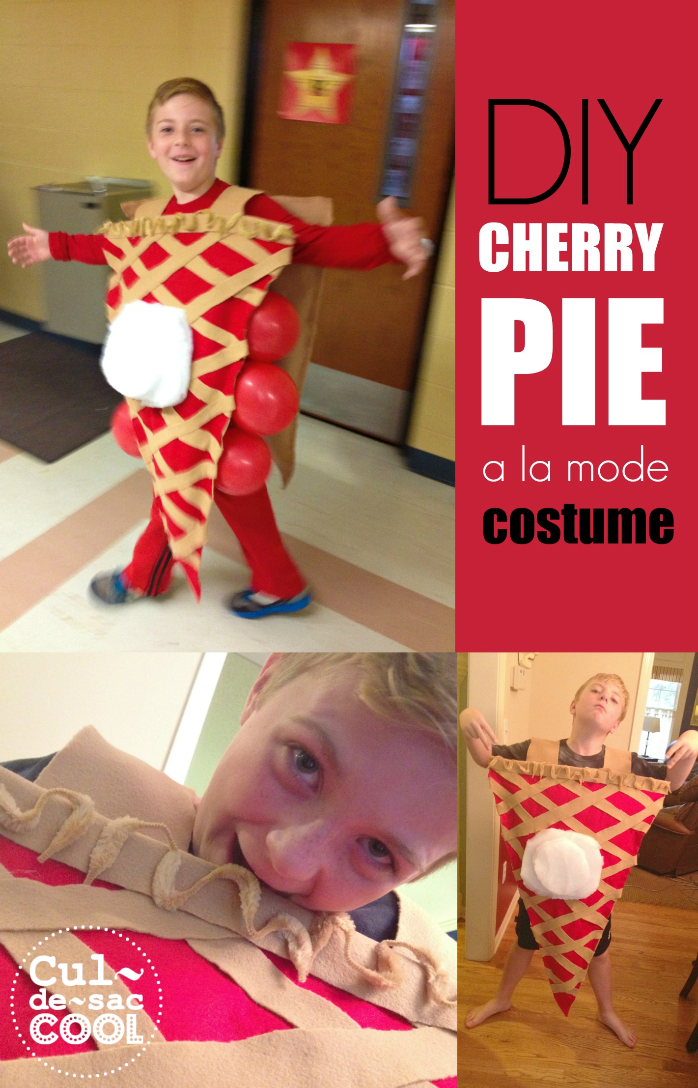 DIY Cherry Pie A La Mode Costume Collage