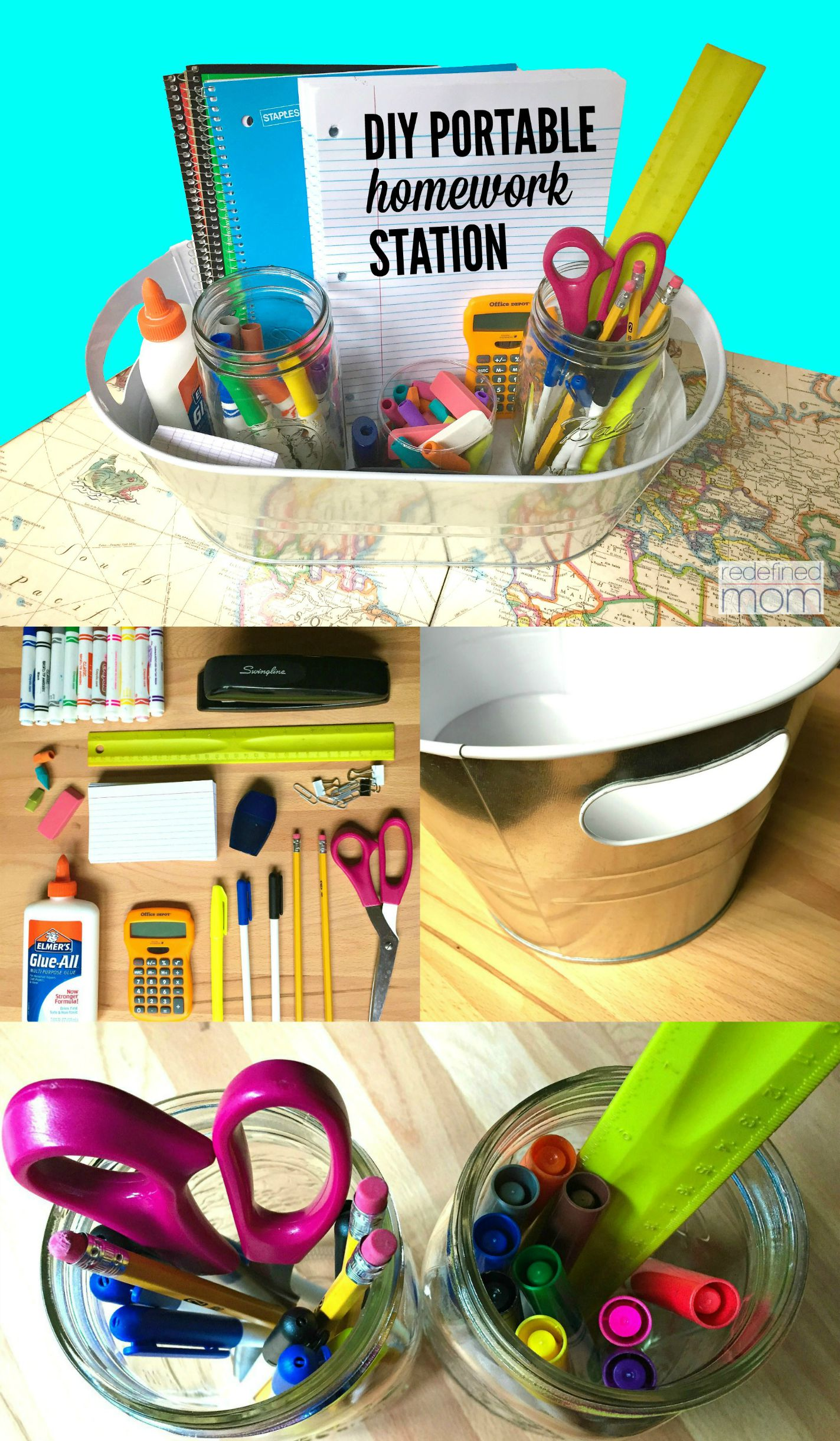 DIY Portable Homework Station Collage