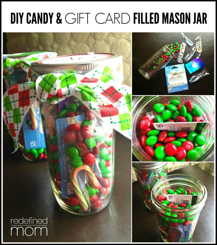 DIY Candy and Gift Card Filled Mason Jar Gift