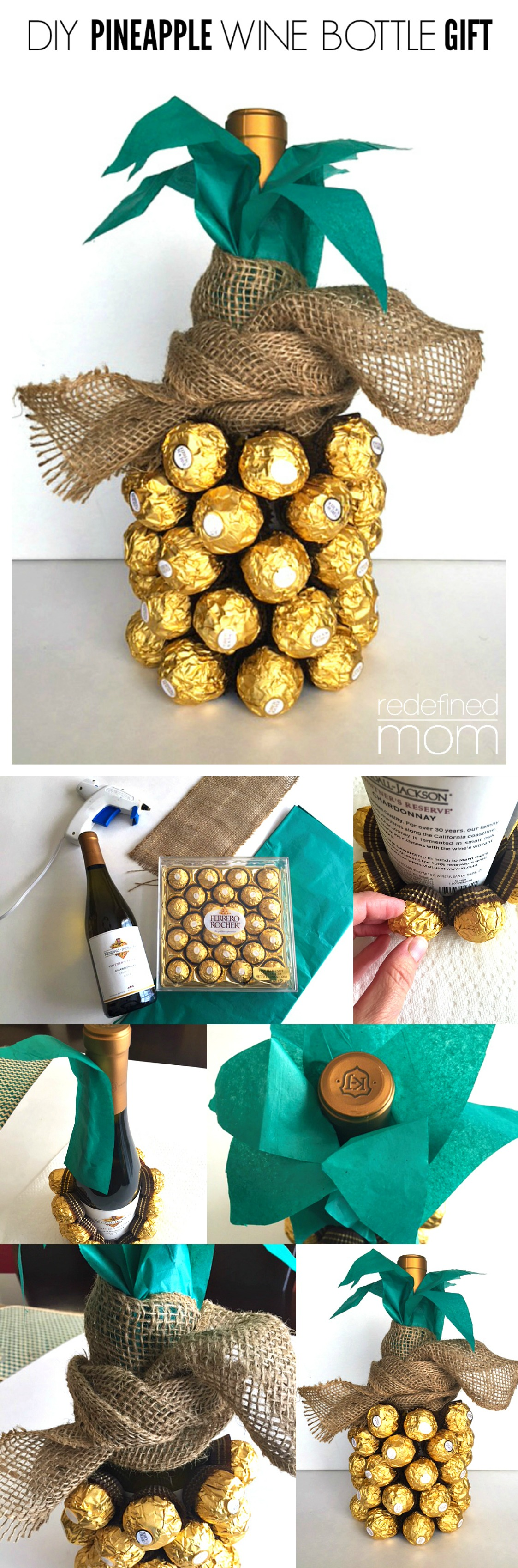 DIY Pineapple Wine Bottle Gift Collage