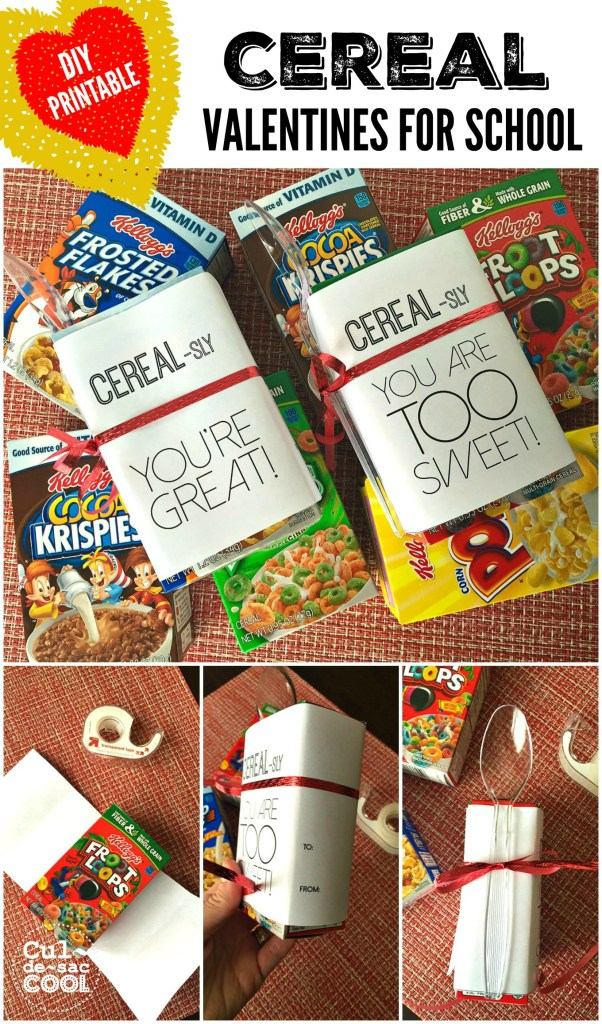 DIY Printable Cereal Valentines For School Collage
