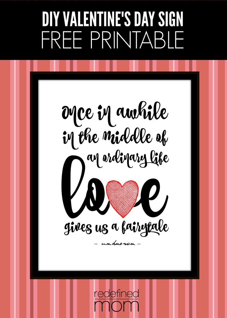 DIY Valentines Day Sign Free Printable cover