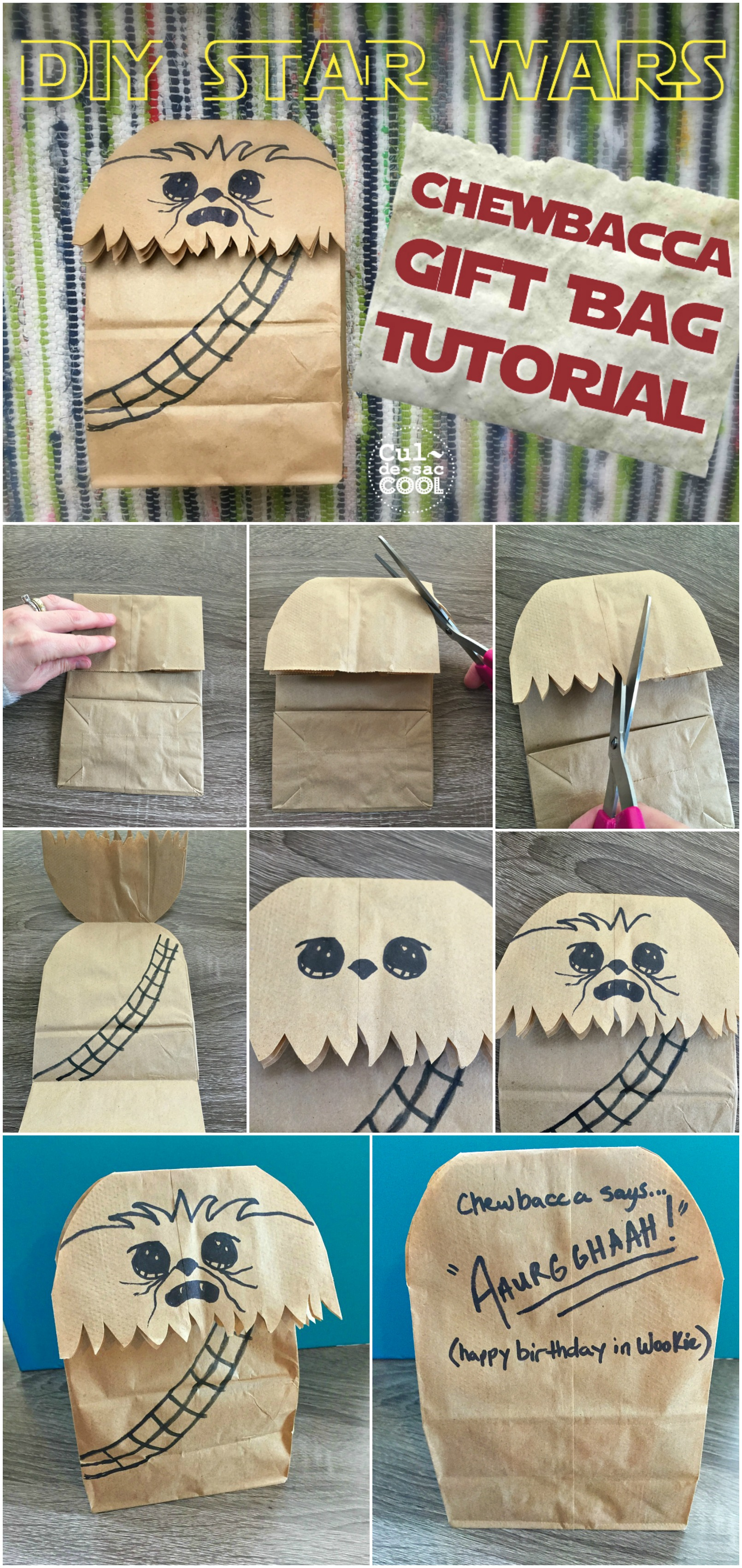 DIY Star Wars Chewbacca Gift Bag Tutorial Collage