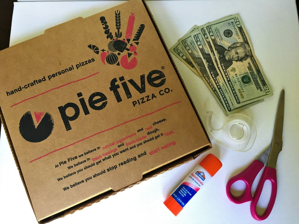 DIY Pizza Box Cash Gift supplies