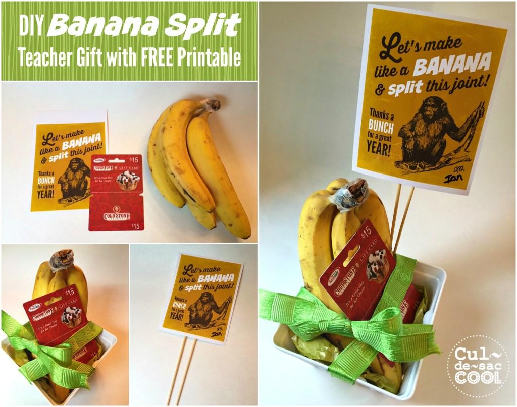 DIY Banana Split Teacher Gift Collage