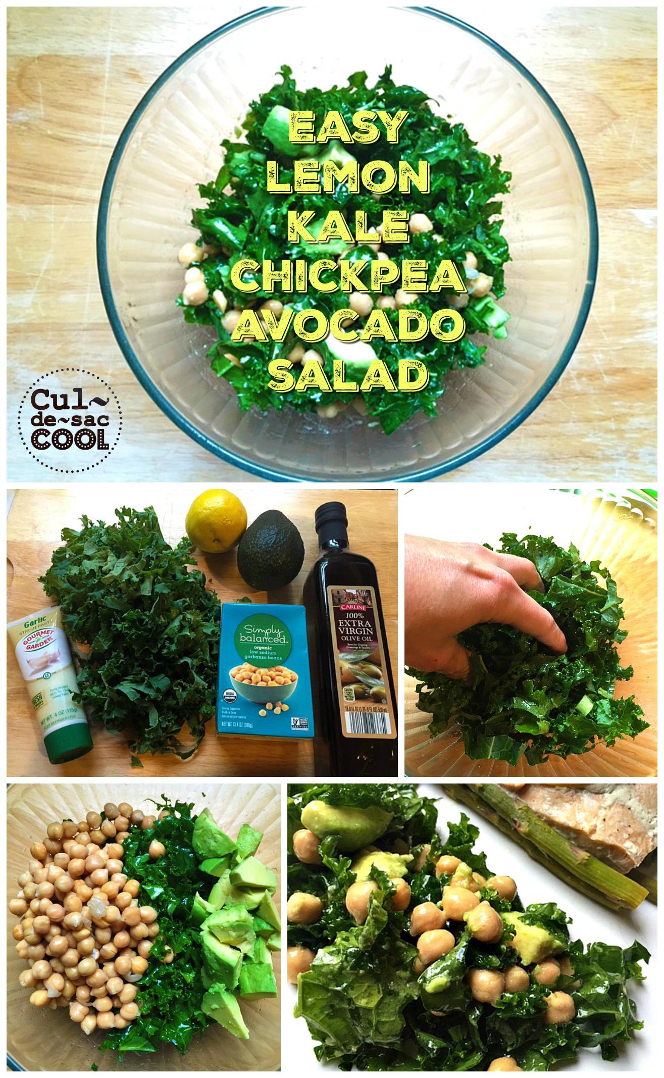 Easy Lemon Kale Chickpea Avocado Salad Collage