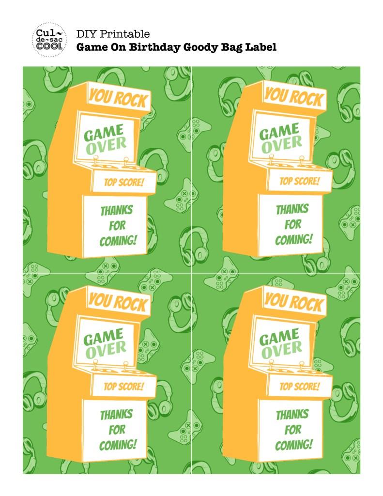 DIY Printable Game On Birthday Goody Bag Labels