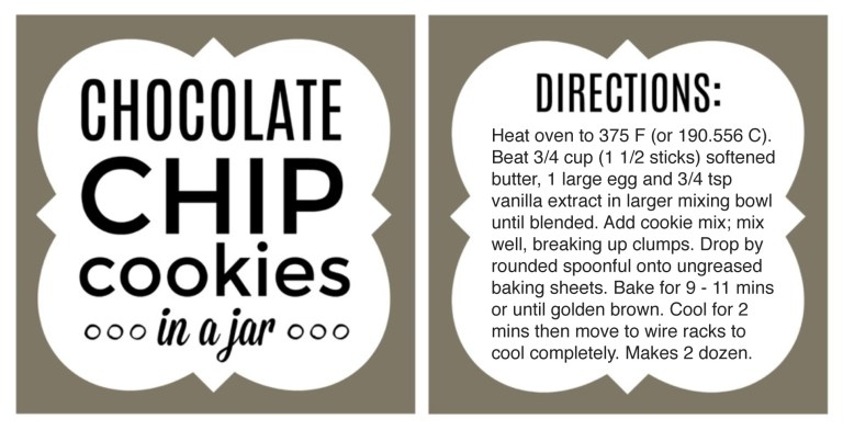 This is a graphic of Transformative Chocolate Chip Cookies in a Jar Printable Tags