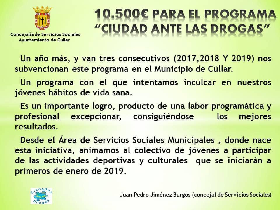 Subvención para el programa Ciudades ante las Drogas