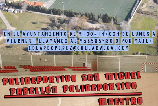 RESERVA DE INSTALACIONES DEPORTIVAS. TEMPORADA 2018-2019