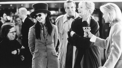 Left to right: Linda Hunt as Regina Krumm, Tracey Ullman as Nina Scant, and Sally Kellerman as Sissy Wanamaker, all major fashion magazine editors attending the shows