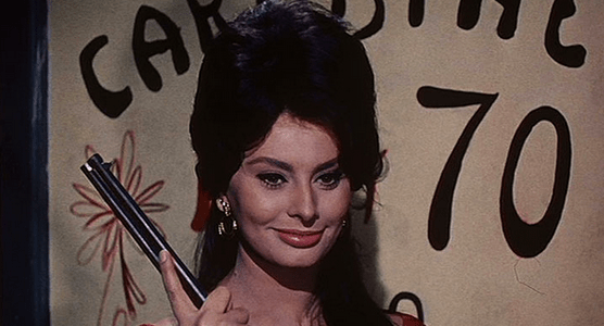 "Sophia Loren continues the running motif of prostitution in Vittorio De Sica's segment, ""La Riffa"""