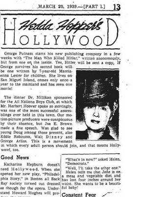 Hedda's signature column in the Los Angeles Times