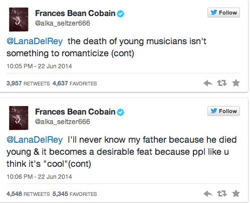 Frances Bean addresses LDR's comments