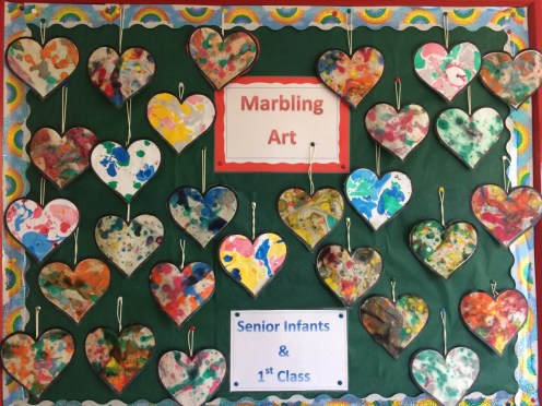 Our Valentine Hearts-Marbling ink