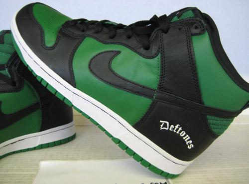 nike dunk high deftones black classic green