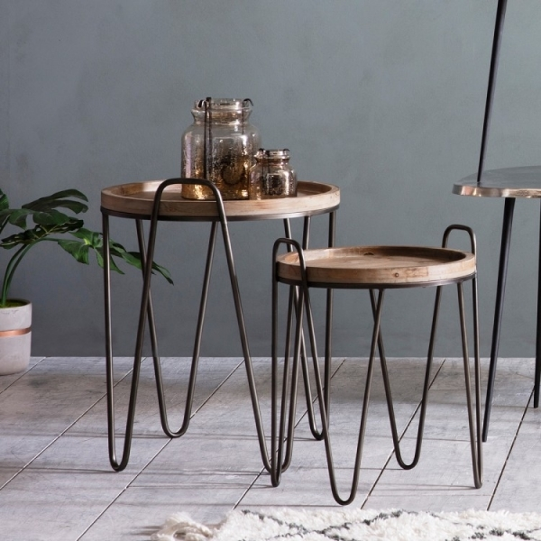 Hairpin Leg Metal Wood Nesting Tables Industrial Side Tables