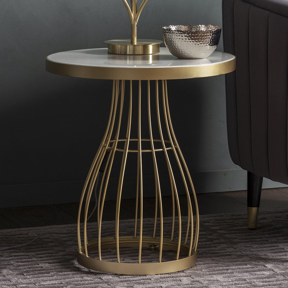 amely round glass side table white and champagne