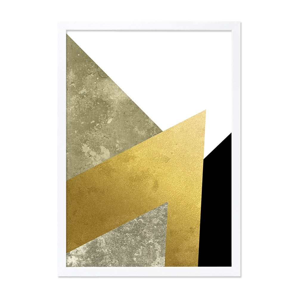 cult living abstract art print framed poster black and gold a2