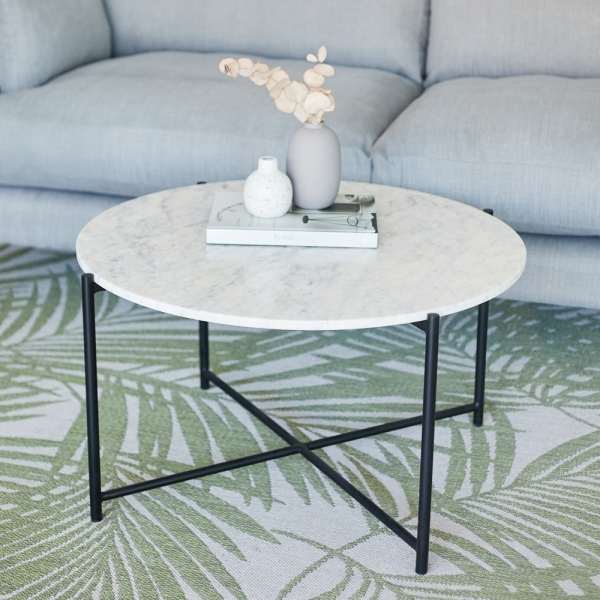cult living aria round coffee table white marble top black