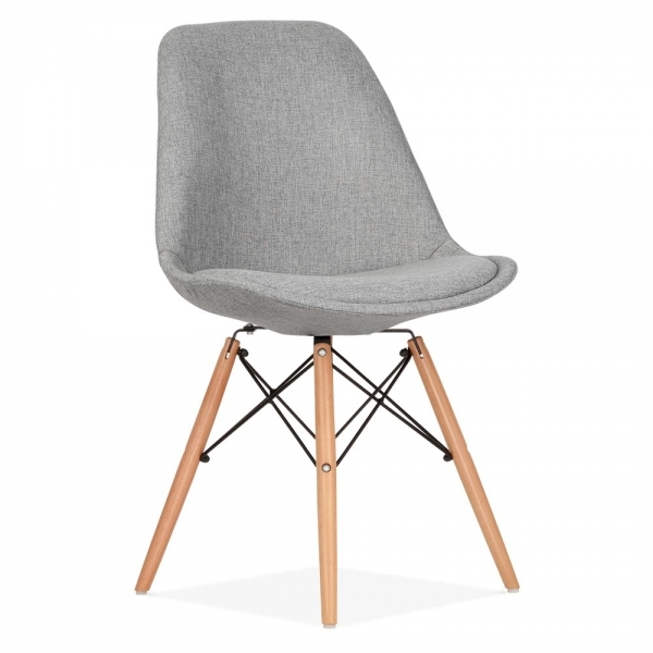 eames inspired dsw style dining chair fabric upholstered cool grey