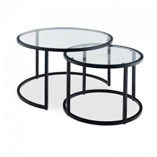 madison nesting coffee table glass top black
