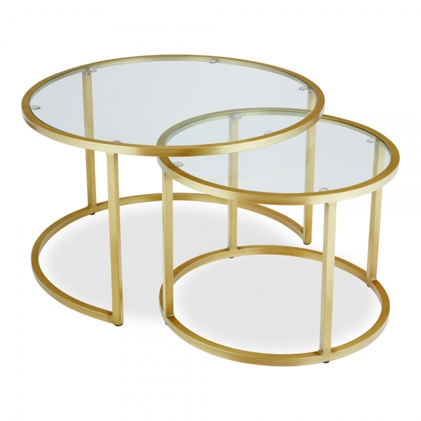 madison nesting coffee table glass top brass