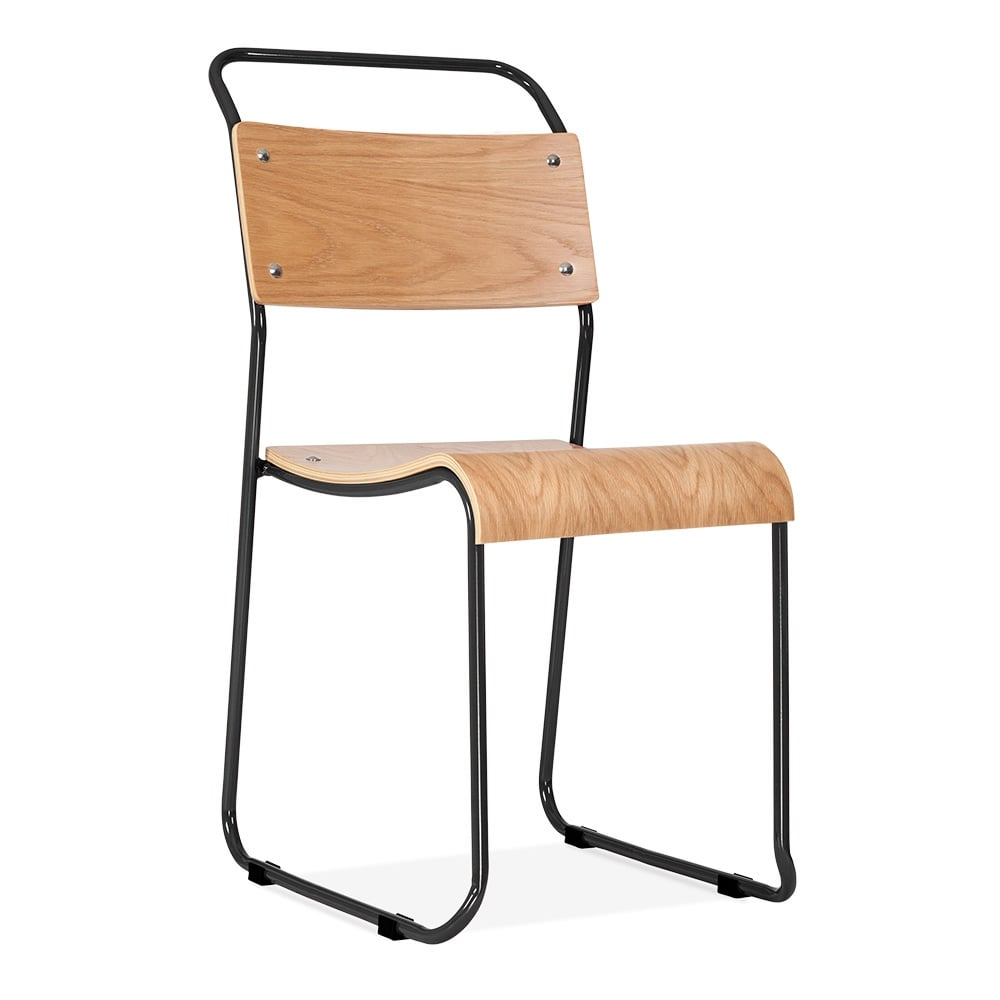 Bauhaus Industrial Black Stackable Chair Dining Chairs