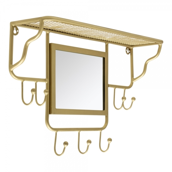 cult living avery wall mounted coat rack with mirror brass