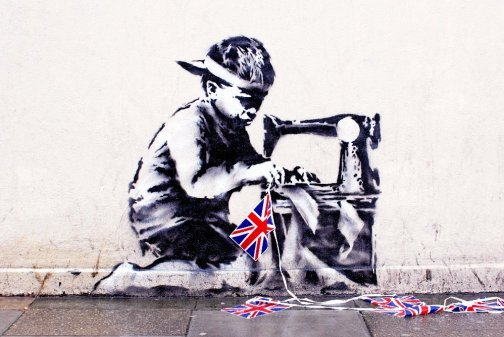 Banksy's Slave Labor (Bunting Boy) disappeared from London on Friday and was posted for auction in Miami this week.