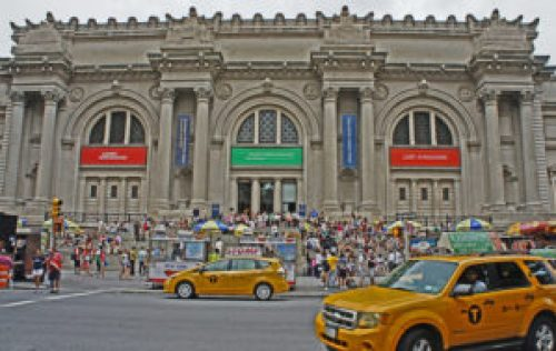 A photo taken from the outside of the Metropolitan Museum of Art in New York, NY.