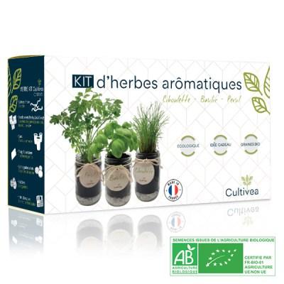 Photo présentation kit herbes aromatiques bleu