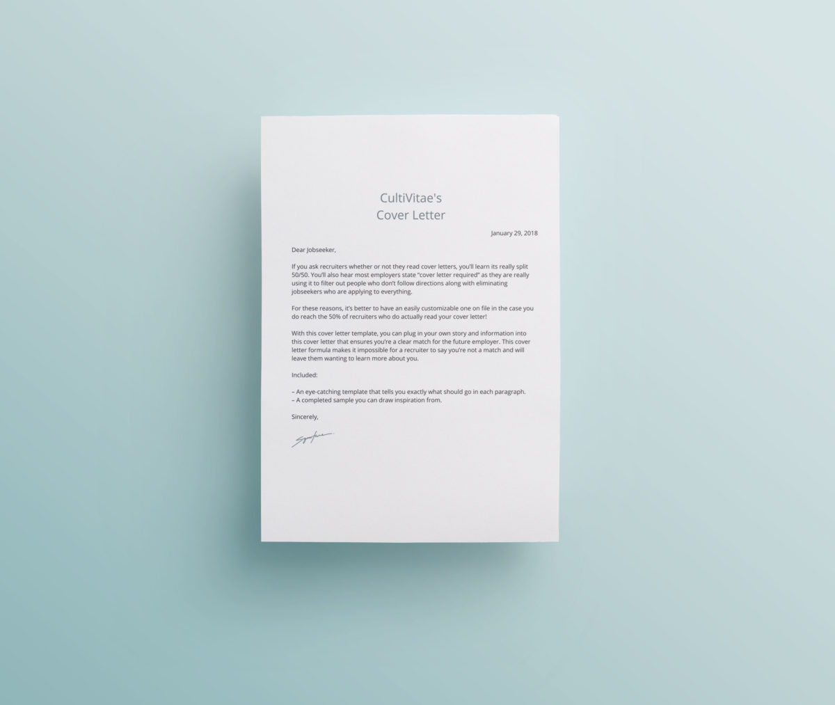 Cover Letter Template With Sample