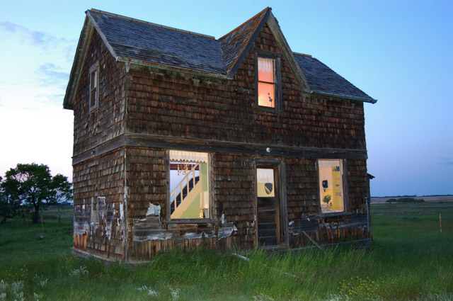 Abandoned farmhouse transformed into a life-size dollhouse by Heather Benning
