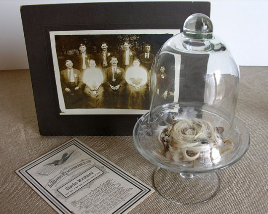 A vintage death crown with post-mortem photo and funeral card