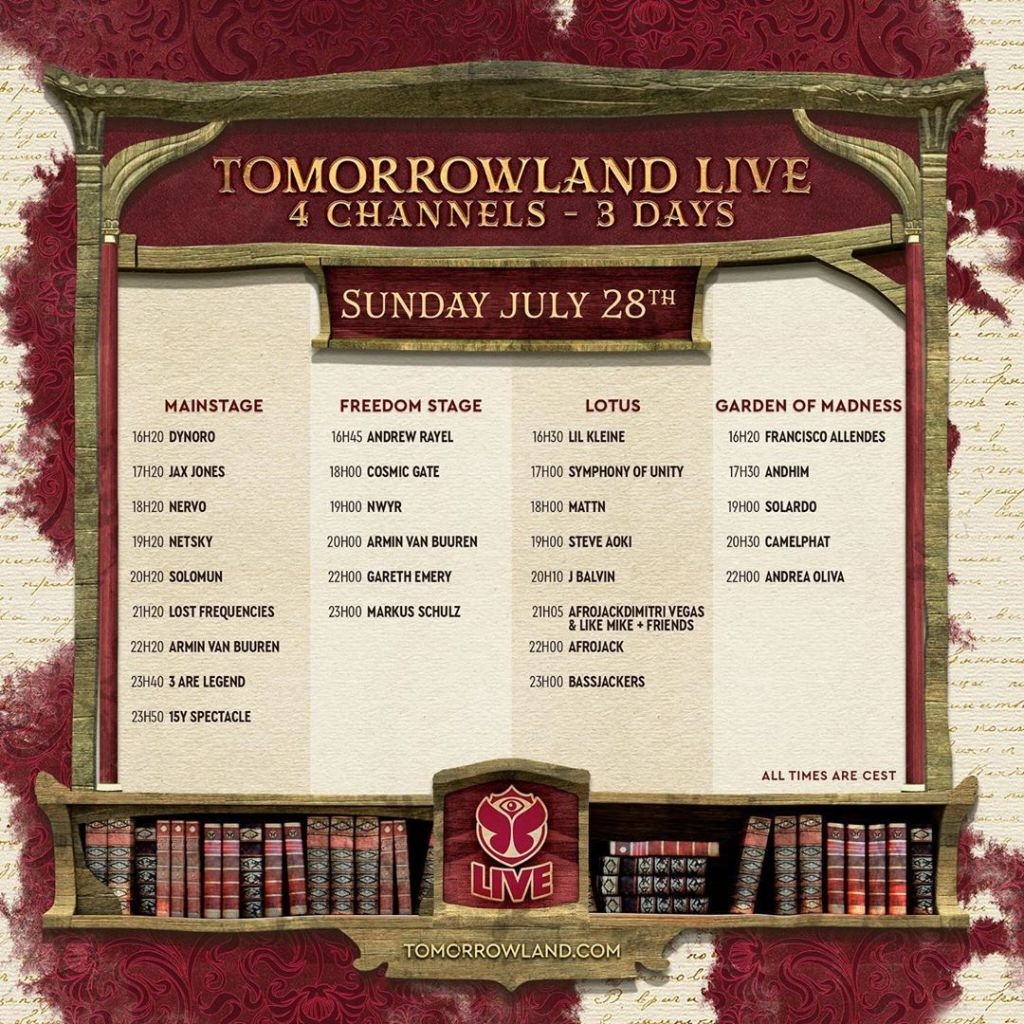 WATCH: Tomorrowland Weekend Two Live Stream Set Times - CULTR