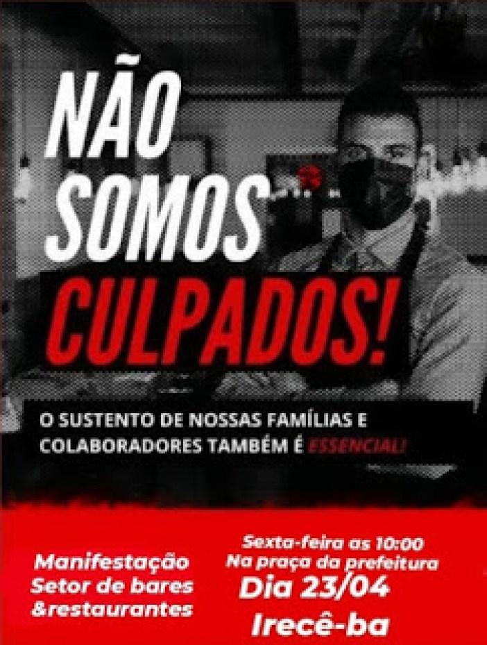 Card do ramo de bares e restaurantes de convocação de ato em manifesto contra decretos estaduais e municipais contra a covid-19